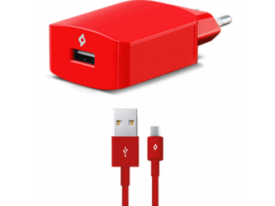 Ttec SpeedCharger USB Travel Charger, 2.1A, incl. Micro USB Red