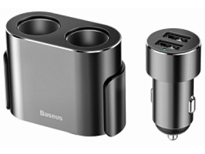 Baseus High Efficiency One to Two Cigarette Lighter(dual-cigarette lighter 80W +dual USB 3.1A)Black