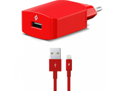 Ttec SpeedCharger USB Travel Charger, 2.1A, incl. Lighting cable Red