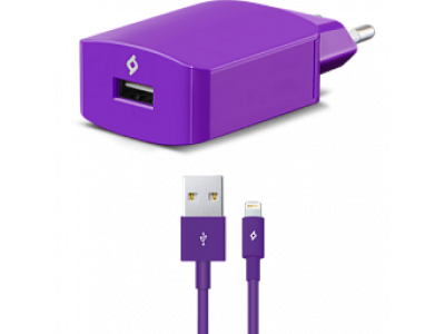 Ttec SpeedCharger USB Travel Charger, 2.1A, incl. Lighting cable Violet